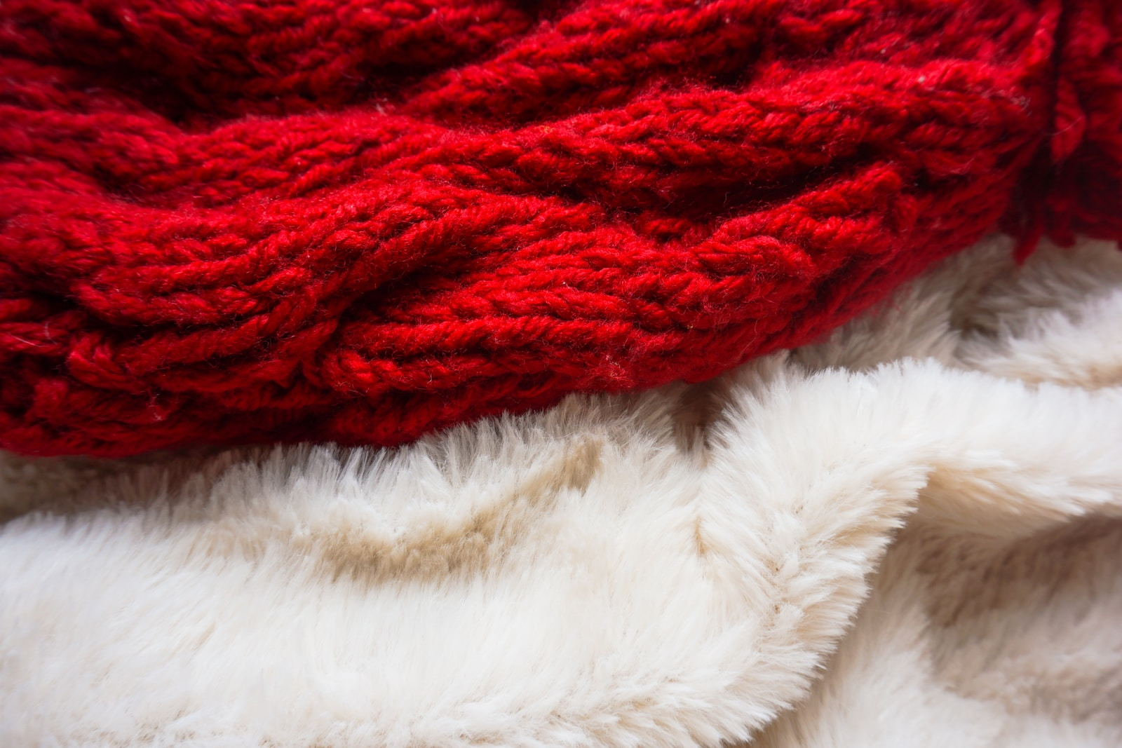 red and white fur textile